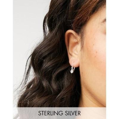 キングスリーライアン レディース ピアス&イヤリング アクセサリー Kingsley Ryan huggie hoop earrings with heart crystal in sterling silver Silver