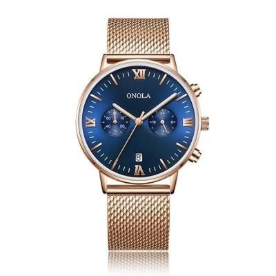 ONOLA メンズ腕時計 クォーツ シンプル ファッション ビジネス メッシュスチールバンド