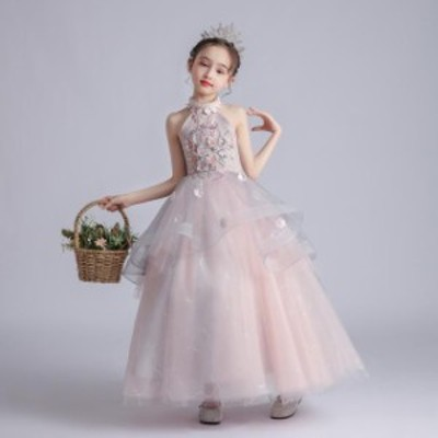 子供 ドレス ロング マキシ丈 プリンセス 大人っぽい ピンク 大人カラー おしゃれ 高級感 キッズドレス ピアノ 発表会 女の子 ドレス 誕