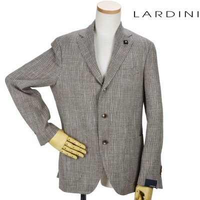 ラルディーニ テーラードジャケット シングル グレンチェック 3B ベージュ系 メンズ