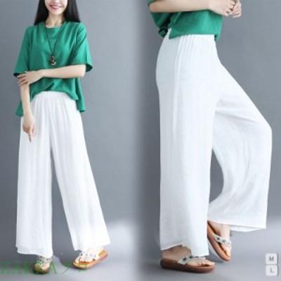 レディース ワイドパンツ ズボン 綿 夏 ゆったり 涼しい さらっとした ゆったり 大きめ ホワイト
