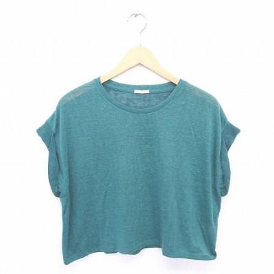 【中古】ジーユー GU ニット セーター 丸首 無地 シンプル 半袖 S 緑 グリーン /TT16 レディース 【ベクトル 古着】
