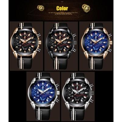 腕時計 メンズ LIGE 海外ブランド 高級 クオーツ クロノグラフ レザーバンド シルバー&ブラック 生活防水