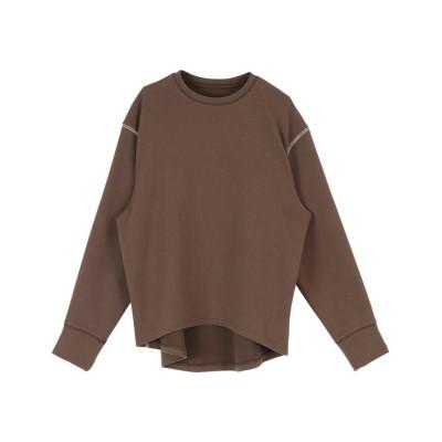 (titivate/ティティベイト)デザインステッチ長袖Tシャツ/レディース ブラウン