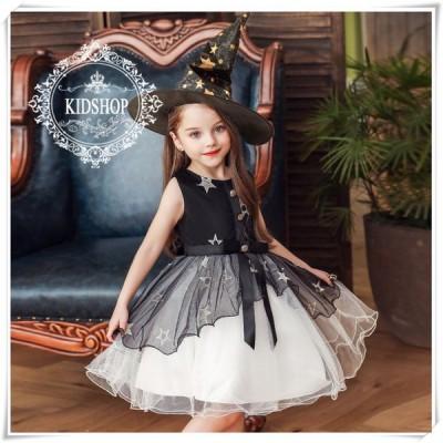 ハロウィン コスプレ子供用可愛い仮装衣装魔女フォーマル女の子子供服キッズワンピース帽子付き