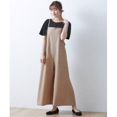パンツ 大きいサイズ レディース ストラップ オールインワン ブラウン/黒 LL~10L ニッセン nissen