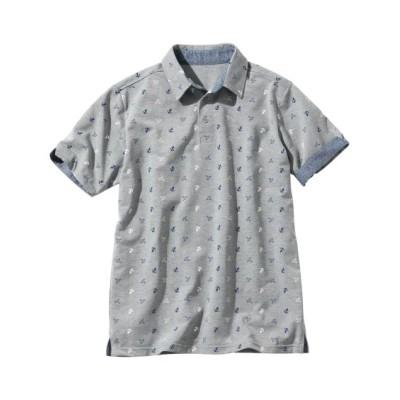 半袖総柄デザインポロシャツ ポロシャツ, Tops