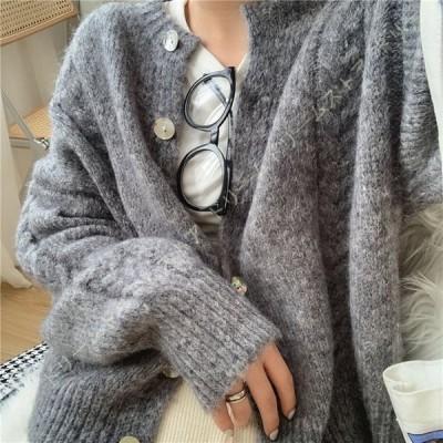 ニットカーディガン レディース 婦人用 カーディガン ビジネス 長袖 カーデ セーター ムジ 韓国感 ファッション 綺麗 大きいサイズ 秋冬 上着 洗える 柔らか