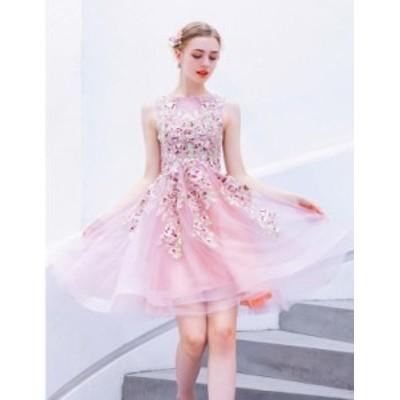 パーティードレス ミニドレス キャバドレス フリ 華やか補整花柄 刺?花柄 お呼ばれドレス 編み上げ 可愛い  ピンク 演奏会 結婚式 成人