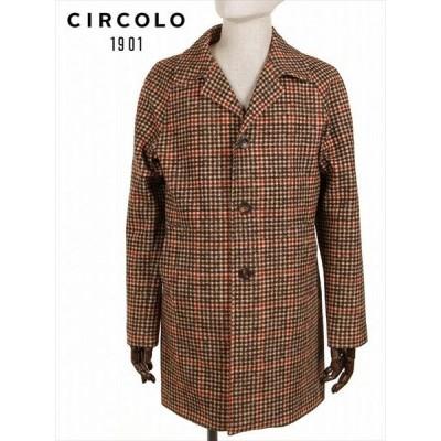 CIRCOLO1901 3B シングル コート ジャージー グレンチェック柄 プリント ブラウン×ブラック 9CU208420 国内正規品