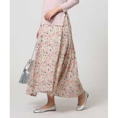 「L」ラップ風フラワーロングスカート