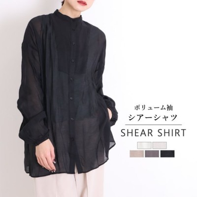 シアーシャツ ロングシャツ 白 レディース バンドカラーシャツ ブラウス シャツ