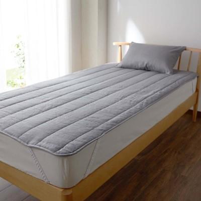 ベルメゾン リネン 麻 敷きパッド フレンチリネン 寝具 敷パッド パッド グレー シングル