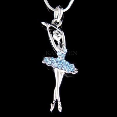 ネックレス インポート スワロフスキ クリスタル ジュエリー ~Baby Blue BALLERINA~ made with Swarovski Crystal Ballet Dancer Necklace Jewelry