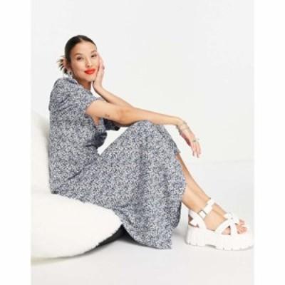 オンリー Only レディース ワンピース ワンピース・ドレス midi tea dress in blue and white floral print フローラル