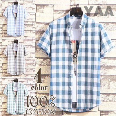 ボタンダウンシャツ メンズ 半袖シャツ カジュアル ビジネス チェックシャツ 開襟シャツ ビジネス 通勤 夏物