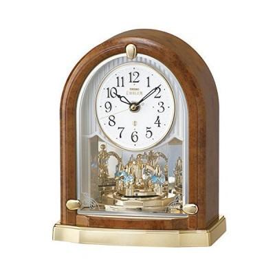 (セイコークロック) SEIKO CLOCK EMBLEM エンブレム 電波 置き時計 HW592B 回転飾り クリスタル 茶マーブル模様