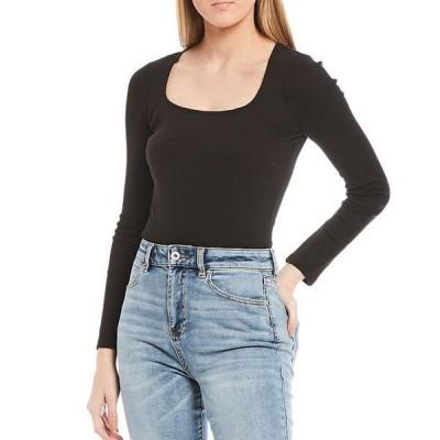 チェルシーアンドバイオレット レディース Tシャツ トップス Ribbed Knit Long Sleeve Square Neck Bodysuit