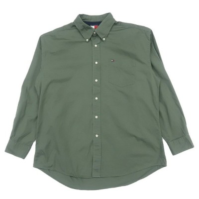 オールド トミーヒルフィガー ワンポイント ロゴ ボタンダウン シャツ オリーブ サイズ表記:XL