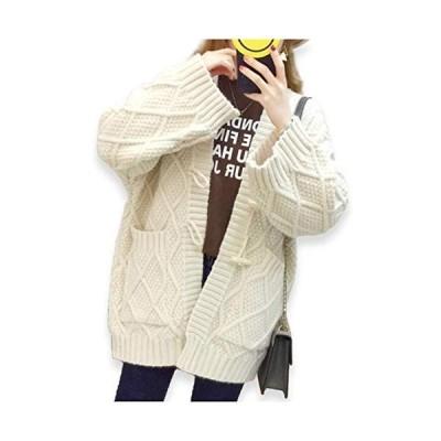 [サフィーブラウ] A47 L ホワイト カーディガン レディース レディス ガールズ ニット ジャケット コート 長袖 厚手 格子 柄 前開き 角