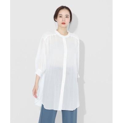 【LASUD】 [Aga] コットンシアーロングシャツ レディース ホワイト M LASUD