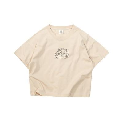 【デビロック】 デビラボ BIGシルエットプリントTシャツ キッズ ベージュ 140 devirock