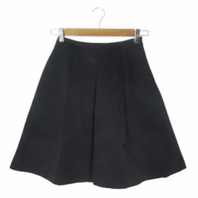 【中古】エムプルミエ M-Premier COUTURE スカート フレア ひざ丈 光沢感 34 黒 ブラック /AO20 ☆ レディース