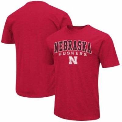 Colosseum コロセウム スポーツ用品  Colosseum Nebraska Cornhuskers Heathered Scarlet Distressed Arch Over Logo T-Shirt