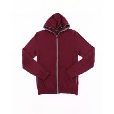 Red  ファッション トップス Tasso Elba NEW Port Red Mens Size Medium M Full-Zip Hooded Sweater