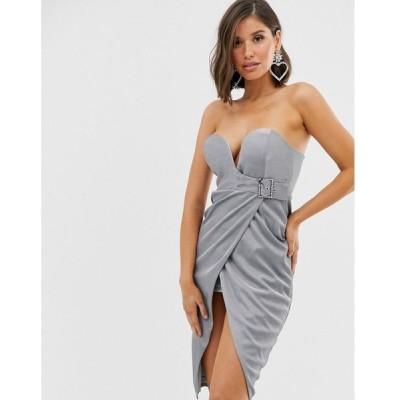 ラーレ Rare レディース ワンピース ワンピース・ドレス buckle wrap front midi dress in silver Silver