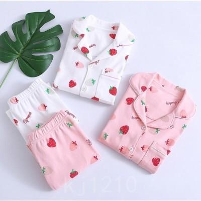 女の子パジャマセット秋冬綿生地子供パジャマイチゴ柄部屋着長袖寝巻きセットキッズルームウェアお肌に優しい上下セット100%綿ピンク白