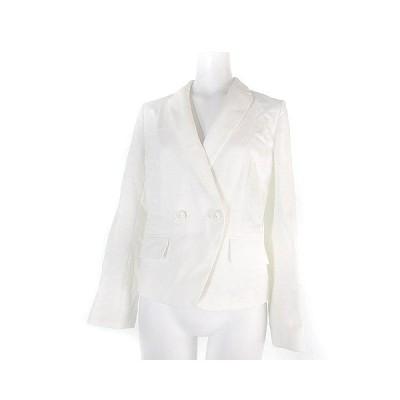 【中古】アダムエロペ Adam et Rope' for AUTHENTIC CLOTHES ジャケット ダブル コットン リネン混 麻混 無地 白 36 アウター レディース 【ベクトル 古着】
