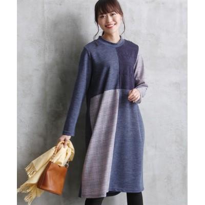 【大きいサイズ】 チェック柄切替レース使いカットソーワンピース(オトナスマイル) ワンピース, plus size dress