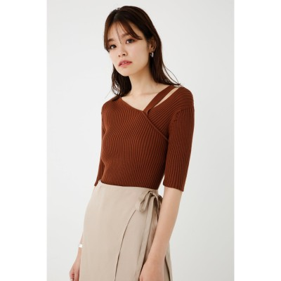 Asymmetry Half Sleeve Knit BRN