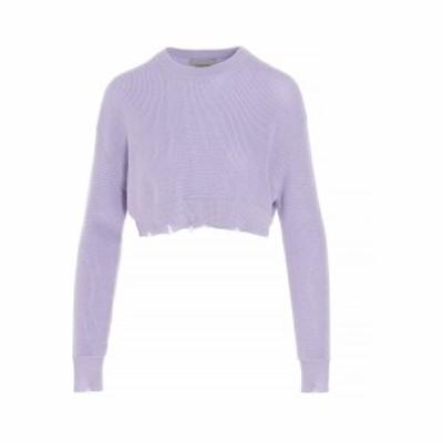 LANEUS/ラネウス Purple Destroyed cropped sweater レディース 春夏2021 MGD1446CC6MALVA ju