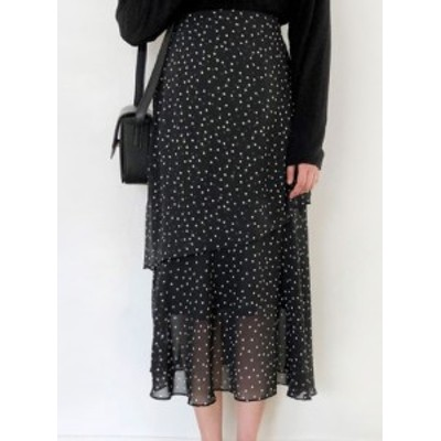 ハイウェストスカート シフォン ドット柄 水玉模様 ミモレ丈  大きいサイズ きれいめ 夏 黒