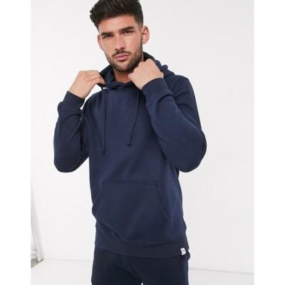 プルアンドベアー メンズ パーカー・スウェット アウター Pull&Bear hoodie in navy