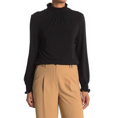 アドリアナ パペル レディース Tシャツ トップス Mock Neck Long Sleeve Crepe Top BLACK