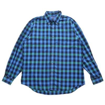 古着 ノーティカ NAUTICA ボタンダウンシャツ 長袖 チェック ブルーベース サイズ表記:XL