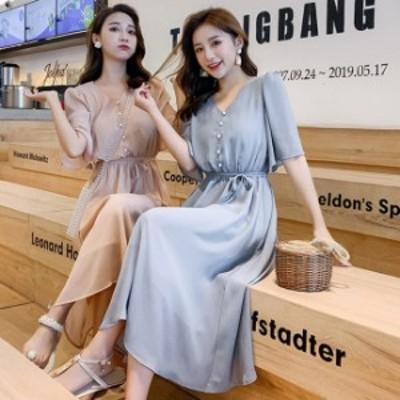 シフォン ロングワンピース 夏 韓国 ファッション 夏服 レディース ウエストマーク ワンピース 前ボタン ワンピ くすみカラー ピンク ブ