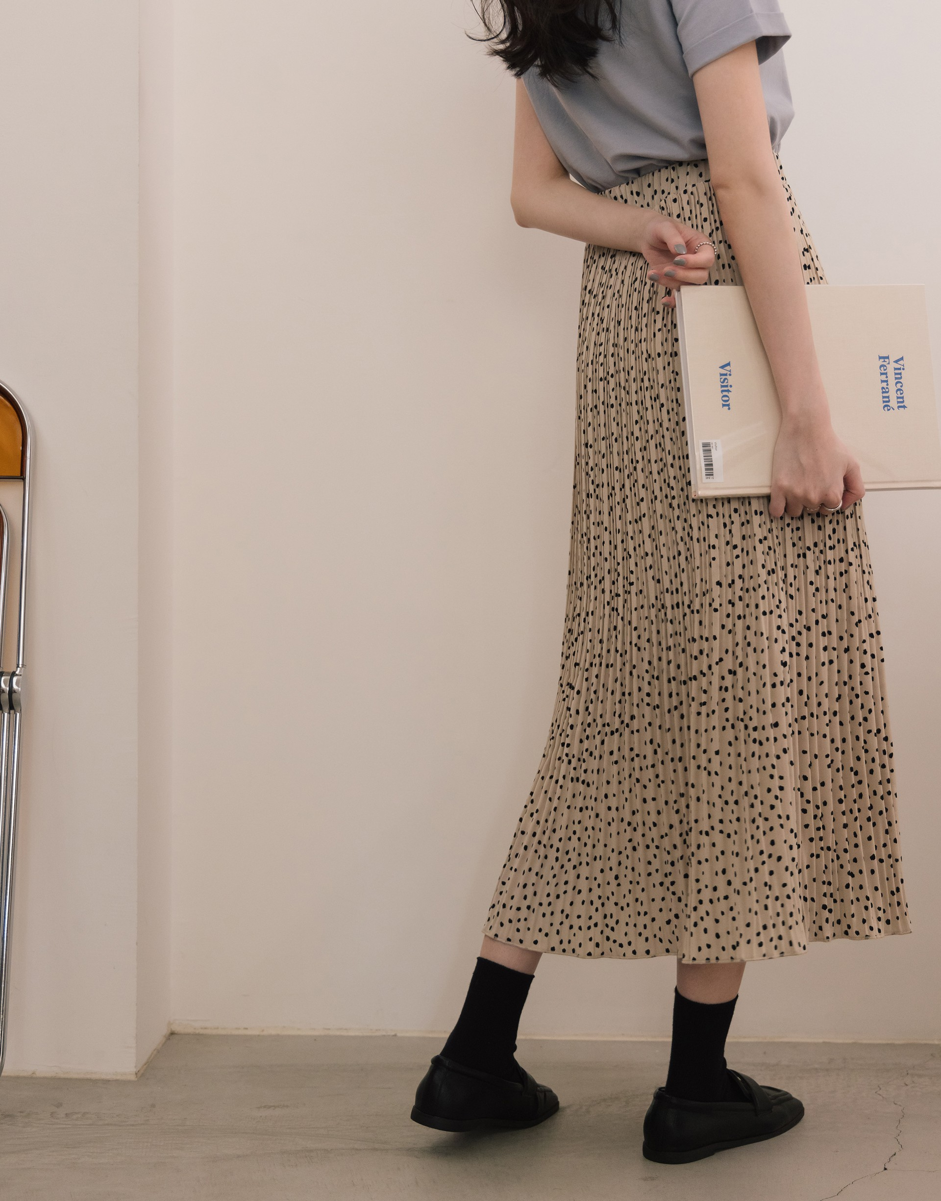 A'a 浪漫點點紋壓褶鬆緊長裙-PAZZO