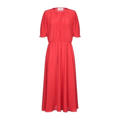 AROSSGIRL x SOLER ロングワンピース&ドレス レッド M シルク 100% ロングワンピース&ドレス