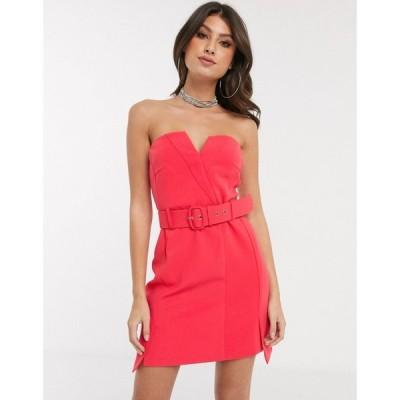 フォース&レックレス 4th + Reckless レディース ワンピース ワンピース・ドレス bandeau dress with buckle detail in raspberry ピンク