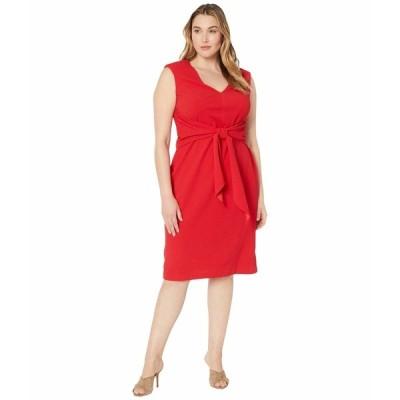 アドリアナ パペル ワンピース トップス レディース Plus Size Rio Knit Draped Tie Sheath Dress Hot Tomato