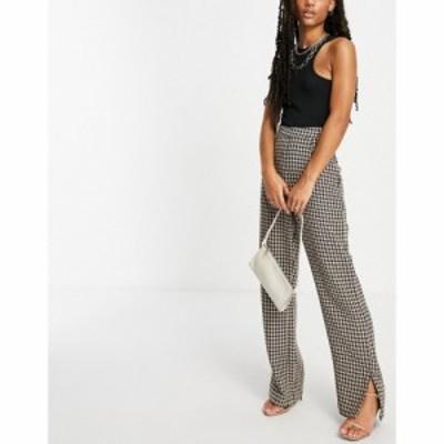 ナーナー NaaNaa レディース ボトムス・パンツ High Waisted Split Hem Tailored Trousers In Brown Dogtooth