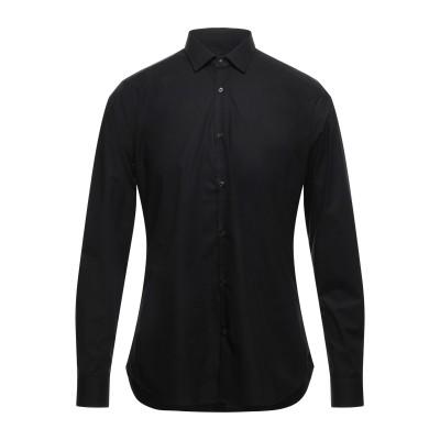 GUGLIELMINOTTI シャツ ブラック 39 コットン 97% / ポリウレタン 3% シャツ