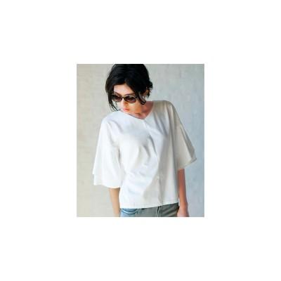 Ranan ひら袖フェミニンTシャツ(ホワイト)
