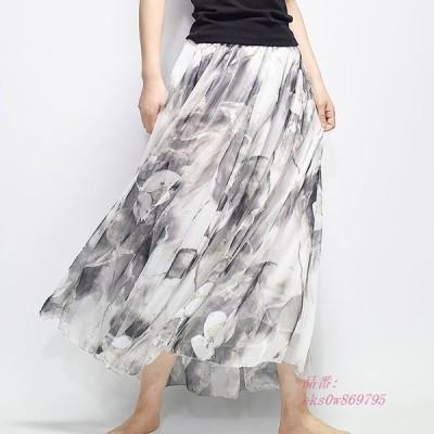 フレアスカート マキシスカート 花柄 フレア シフォンスカート スカート レディース
