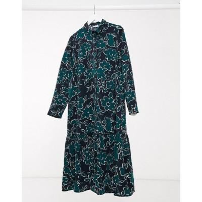 ヴィラ レディース ワンピース トップス Vila drop hem shirt dress in print