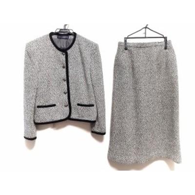 ニューヨーカー NEW YORKER スカートスーツ サイズ9 M レディース アイボリー×黒 肩パッド【中古】20200606